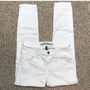 Zara White Skinny Stretch Distressed Denim Jeans